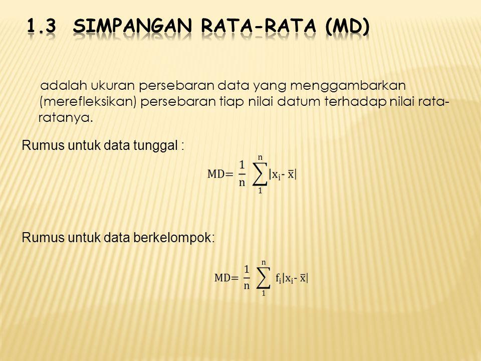adalah ukuran persebaran data yang menggambarkan (merefleksikan) persebaran tiap nilai datum terhadap nilai rata- ratanya. Rumus untuk data tunggal :