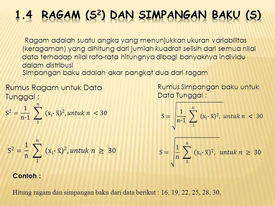 Ragam adalah suatu angka yang menunjukkan ukuran variabilitas (keragaman) yang dihitung dari jumlah kuadrat selisih dari semua nilai data terhadap nil
