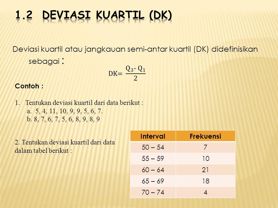 Deviasi kuartil atau jangkauan semi-antar kuartil (DK) didefinisikan sebagai : Contoh : 1.Tentukan deviasi kuartil dari data berikut : a. 5, 4, 11, 10