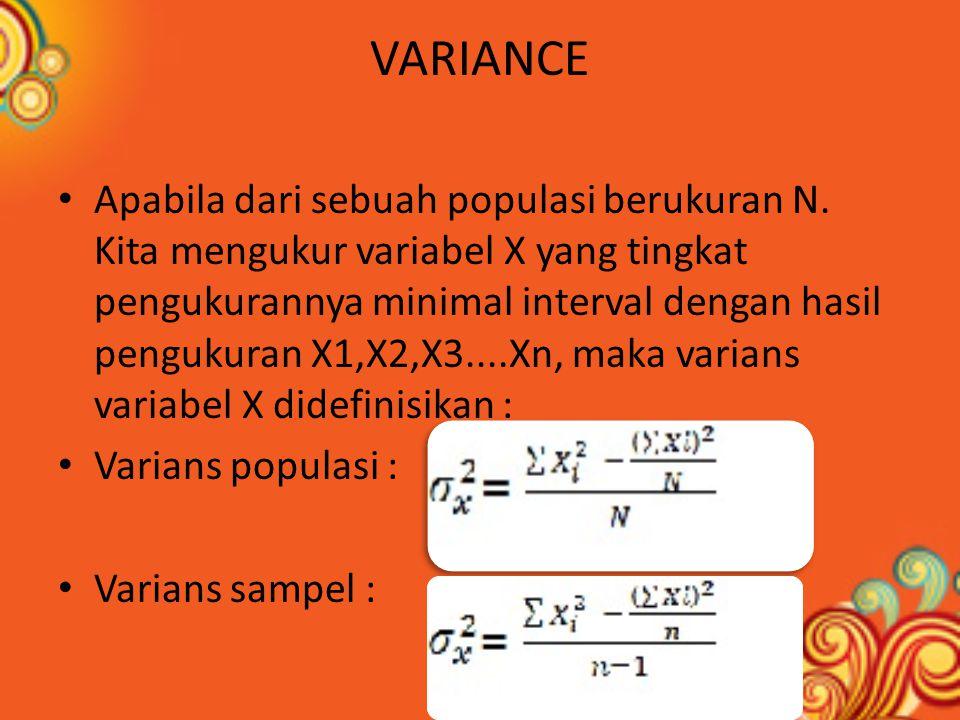Contoh Hasil pengukuran 6 orang tinggi badan adalah sebagai berikut : JAWABAN : ∑ X 2 = 165.500 ∑ X = 996 δ 2 X = 27,33333cm 2 Satuan pengukurannya = cm Varians pengukurannya = cm 2 Interpretasi Varians agak sukar karena sebenarnya dua dimensional.