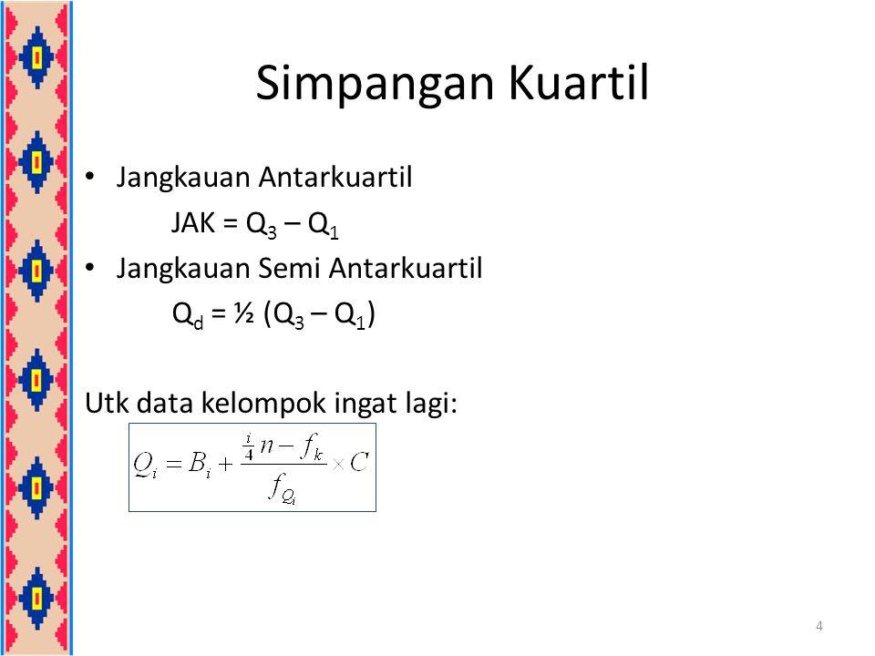 Simpangan Kuartil Jangkauan Antarkuartil JAK = Q 3 – Q 1 Jangkauan Semi Antarkuartil Q d = ½ (Q 3 – Q 1 ) Utk data kelompok ingat lagi: 4