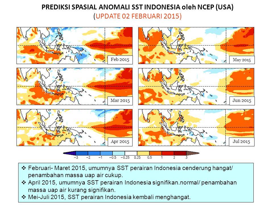 PREDIKSI SPASIAL ANOMALI SST INDONESIA oleh NCEP (USA) (UPDATE 02 FEBRUARI 2015) May 2015 Jun 2015Mar 2015 Jul 2015 Feb 2015 Apr 2015  Februari- Mare
