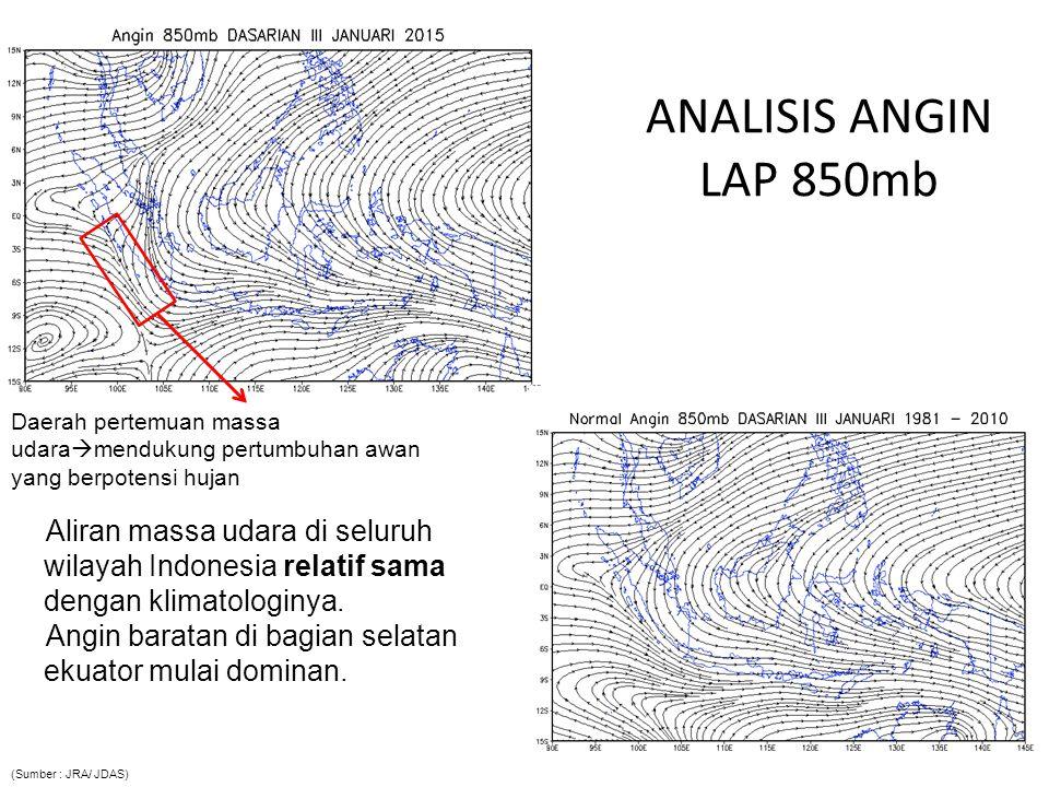 ANALISIS ANGIN LAP 850mb Aliran massa udara di seluruh wilayah Indonesia relatif sama dengan klimatologinya. Angin baratan di bagian selatan ekuator m