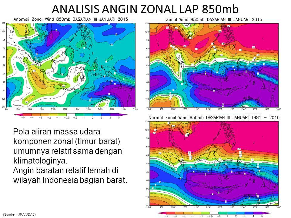 Pola aliran massa udara komponen zonal (timur-barat) umumnya relatif sama dengan klimatologinya. Angin baratan relatif lemah di wilayah Indonesia bagi