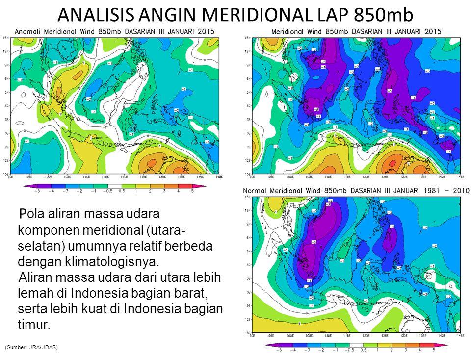 P ola aliran massa udara komponen meridional (utara- selatan) umumnya relatif berbeda dengan klimatologisnya. Aliran massa udara dari utara lebih lema