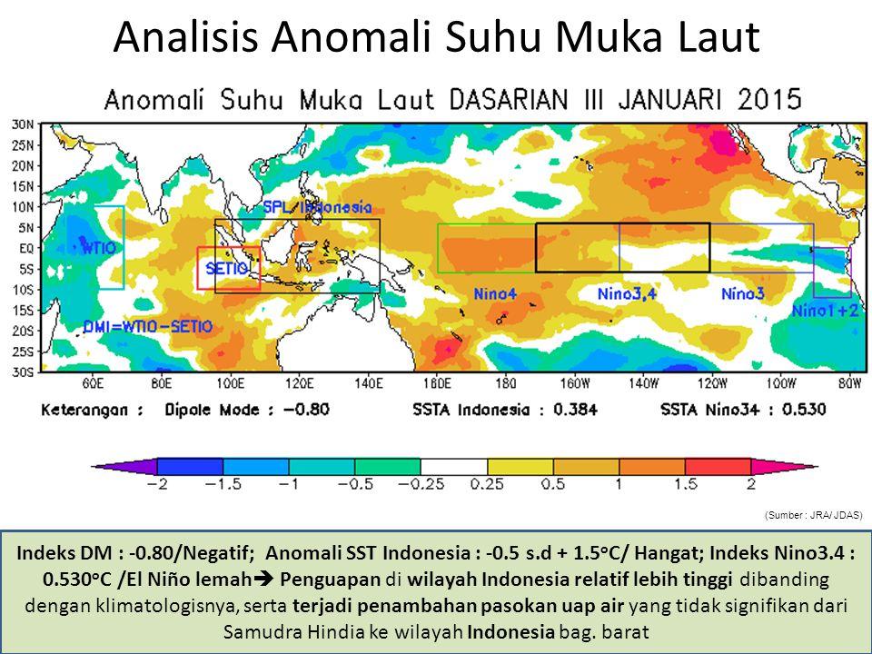 Analisis Anomali Suhu Muka Laut Indeks DM : -0.80/Negatif; Anomali SST Indonesia : -0.5 s.d + 1.5 o C/ Hangat; Indeks Nino3.4 : 0.530 o C /El Niño lem