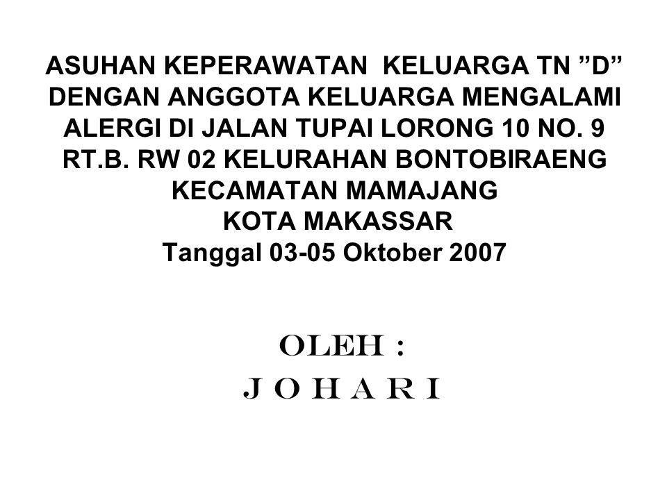 LATAR BELAKANG Dari hasil pencatatan kunjungan di puskesmas Mamajang pada tahun 2007 dari bulan Januari – September terdapat 2593 kunjungan alergi dari jumlah penduduk 15.668.