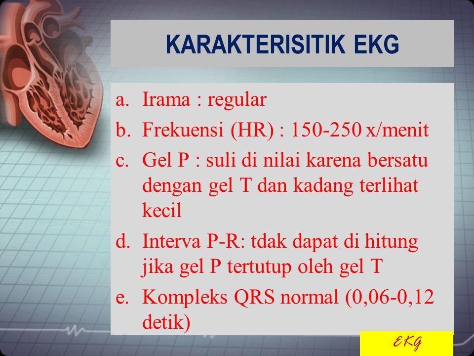 KARAKTERISITIK EKG a.Irama : regular b.Frekuensi (HR) : 150-250 x/menit c.Gel P : suli di nilai karena bersatu dengan gel T dan kadang terlihat kecil