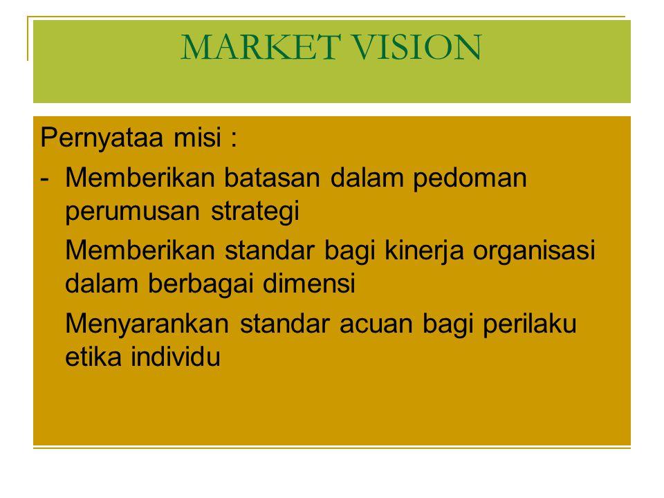 Pernyataa misi : - Memberikan batasan dalam pedoman perumusan strategi - Memberikan standar bagi kinerja organisasi dalam berbagai dimensi - Menyarankan standar acuan bagi perilaku etika individu MARKET VISION