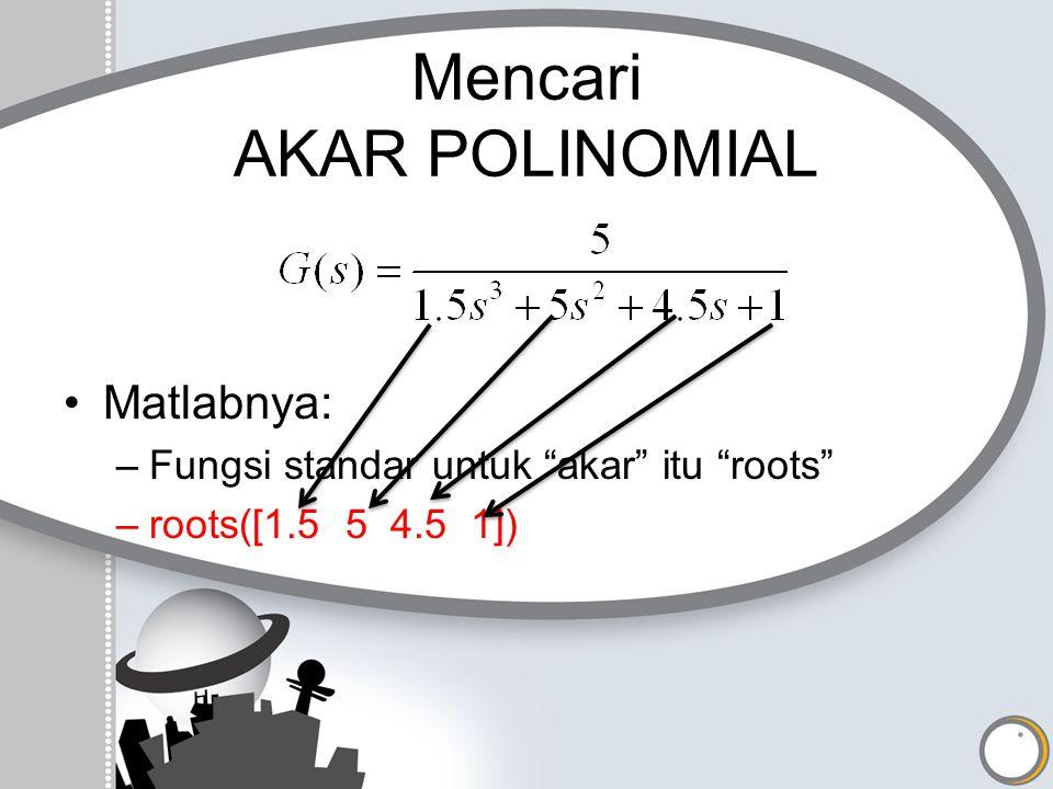 """Mencari AKAR POLINOMIAL Matlabnya: –Fungsi standar untuk """"akar"""" itu """"roots"""" –roots([1.5 5 4.5 1])"""