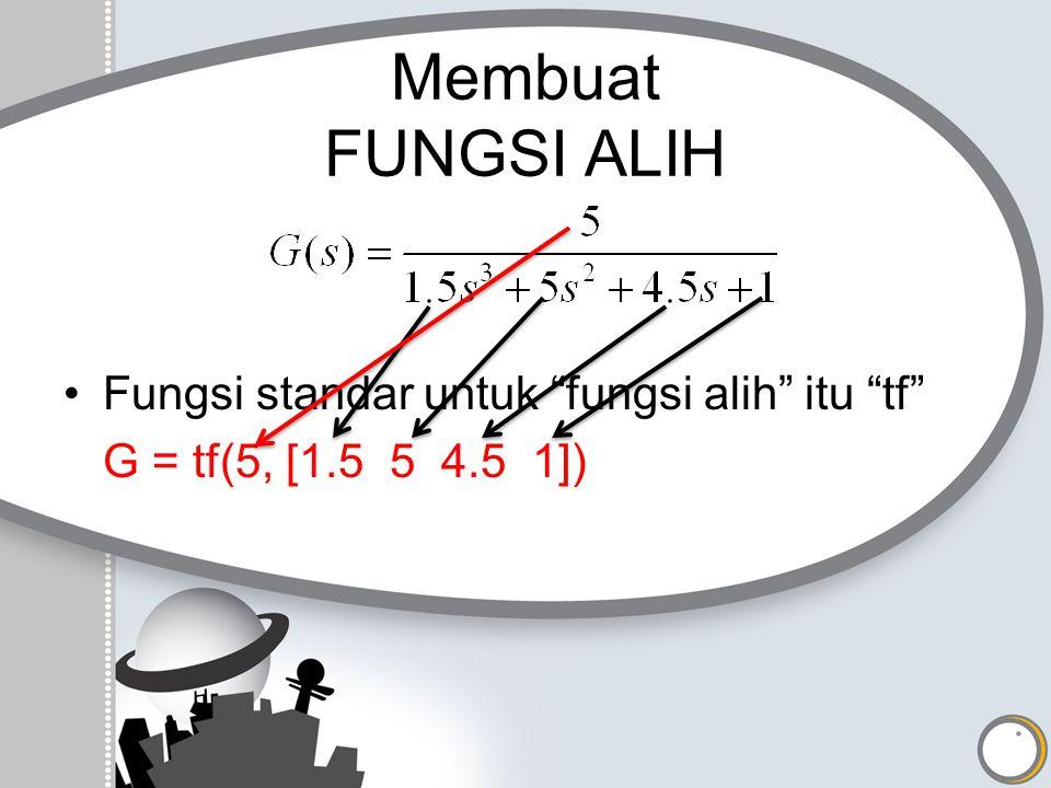 """Membuat FUNGSI ALIH Fungsi standar untuk """"fungsi alih"""" itu """"tf"""" G = tf(5, [1.5 5 4.5 1])"""