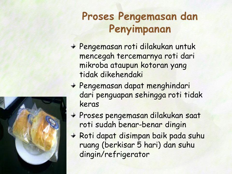 Proses Pengemasan dan Penyimpanan Pengemasan roti dilakukan untuk mencegah tercemarnya roti dari mikroba ataupun kotoran yang tidak dikehendaki Pengem