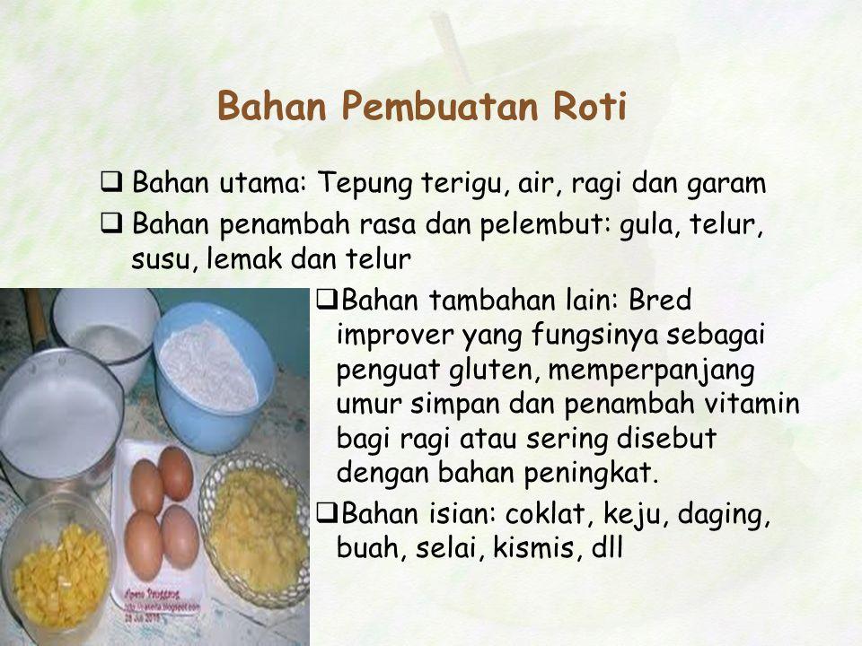 Bahan Pembuatan Roti  Bahan utama: Tepung terigu, air, ragi dan garam  Bahan penambah rasa dan pelembut: gula, telur, susu, lemak dan telur  Bahan