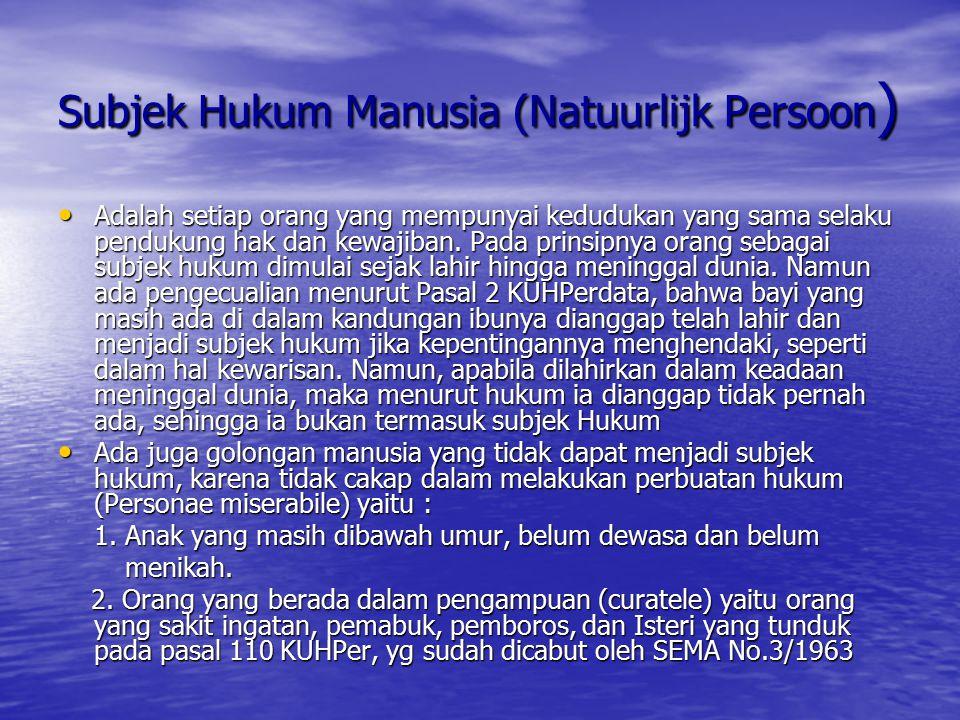 Subjek Hukum Manusia (Natuurlijk Persoon ) Adalah setiap orang yang mempunyai kedudukan yang sama selaku pendukung hak dan kewajiban. Pada prinsipnya