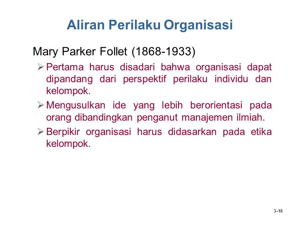 3–18 Aliran Perilaku Organisasi Mary Parker Follet (1868-1933)  Pertama harus disadari bahwa organisasi dapat dipandang dari perspektif perilaku indi