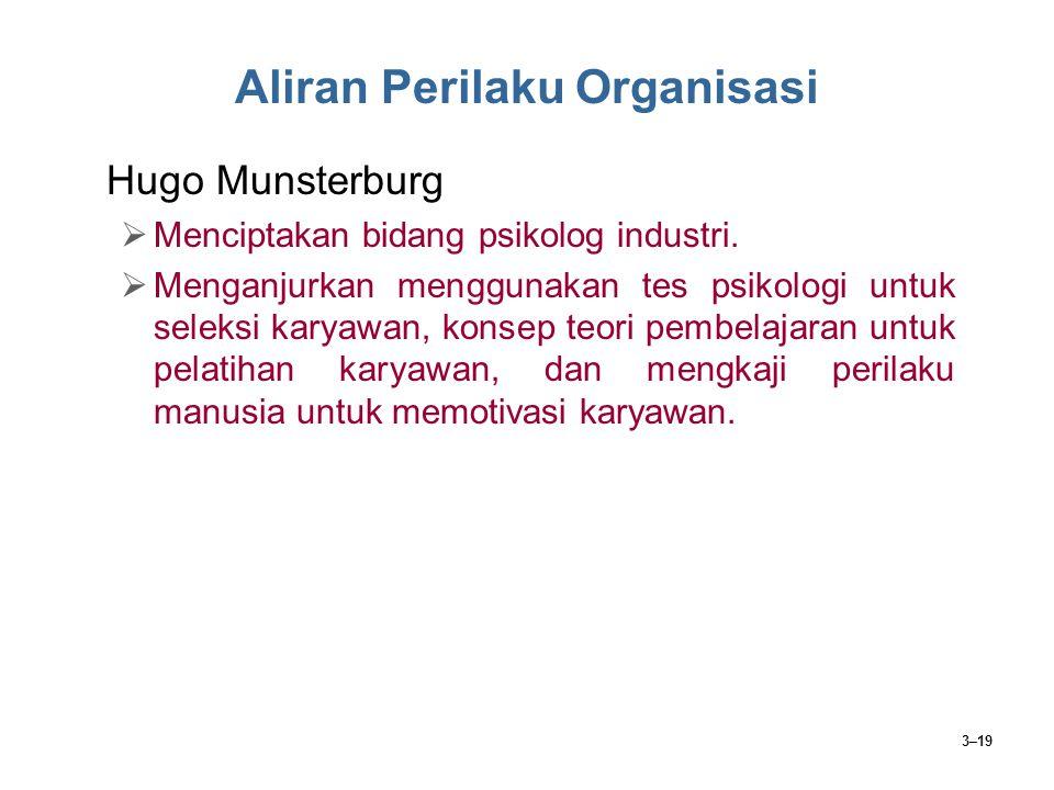 3–19 Aliran Perilaku Organisasi Hugo Munsterburg  Menciptakan bidang psikolog industri.  Menganjurkan menggunakan tes psikologi untuk seleksi karyaw