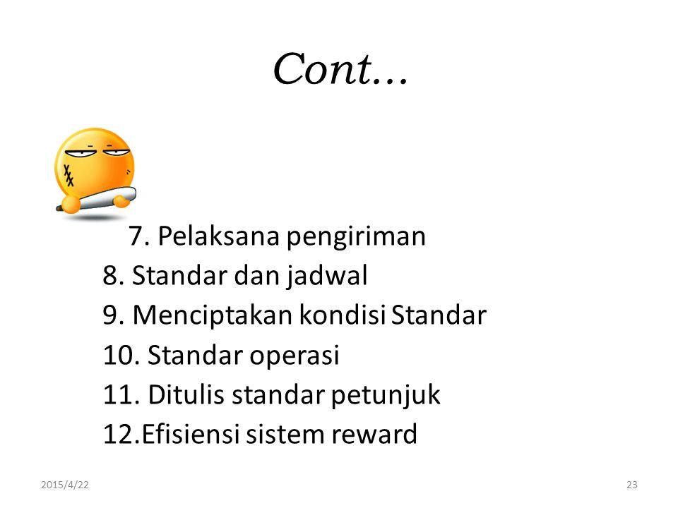 2015/4/2223 Cont... 7. Pelaksana pengiriman 8. Standar dan jadwal 9. Menciptakan kondisi Standar 10. Standar operasi 11. Ditulis standar petunjuk 12.E
