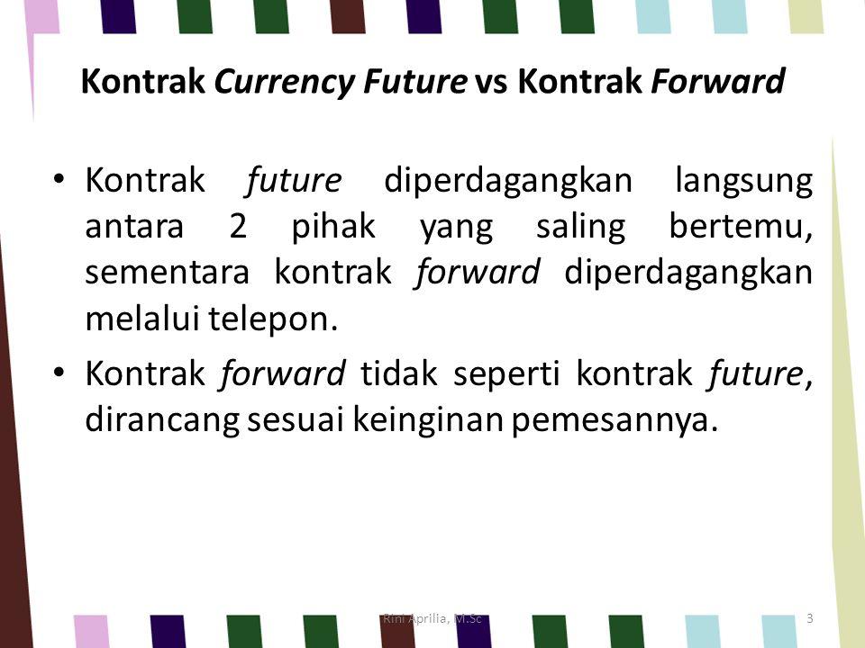 Perbandingan antara Pasar Forward dan Pasar Future PerbedaanForwardFutures Ukuran KontrakDisesuaikan dengan kebutuhan individual Standar Tanggal pengiriman/penyelesaian Disesuaikan dengan kebutuhan individual Standar PelakuBank, pialang, dan mnc.