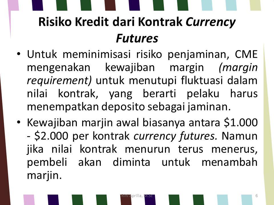 Risiko Kredit dari Kontrak Currency Futures Untuk meminimisasi risiko penjaminan, CME mengenakan kewajiban margin (margin requirement) untuk menutupi