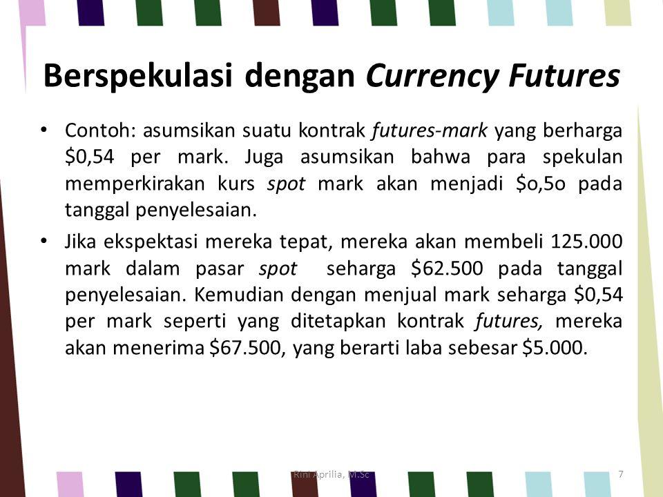 Berspekulasi dengan Currency Futures Contoh: asumsikan suatu kontrak futures-mark yang berharga $0,54 per mark. Juga asumsikan bahwa para spekulan mem