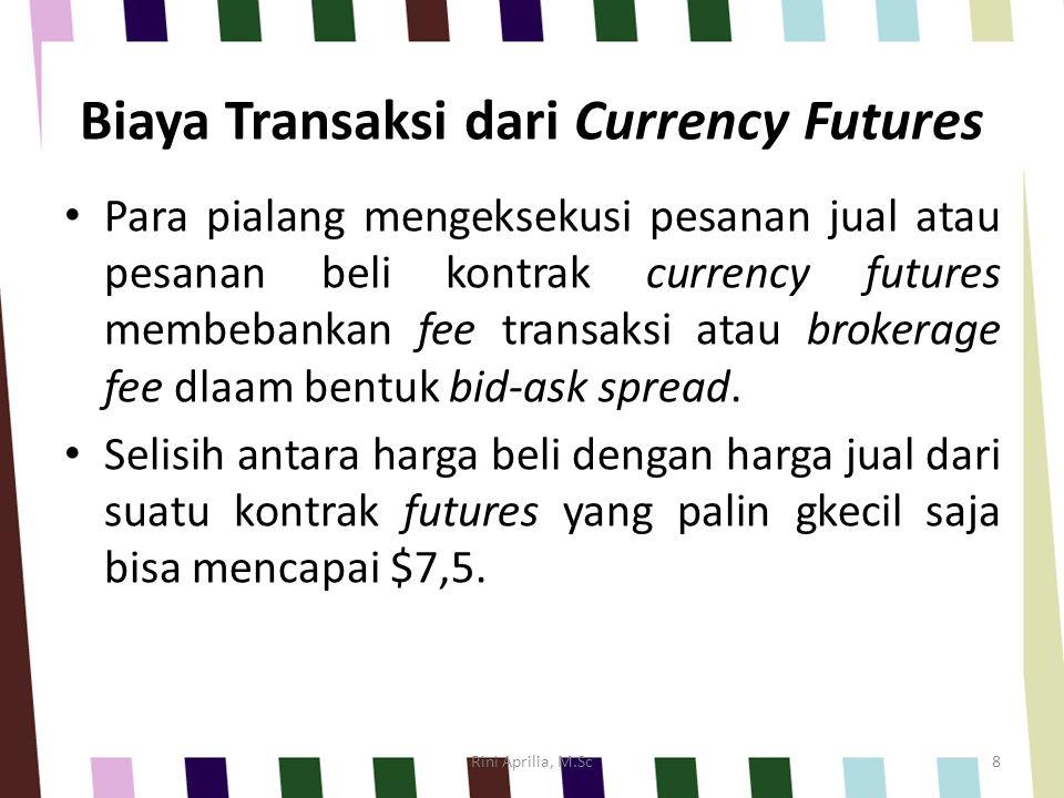 Biaya Transaksi dari Currency Futures Para pialang mengeksekusi pesanan jual atau pesanan beli kontrak currency futures membebankan fee transaksi atau
