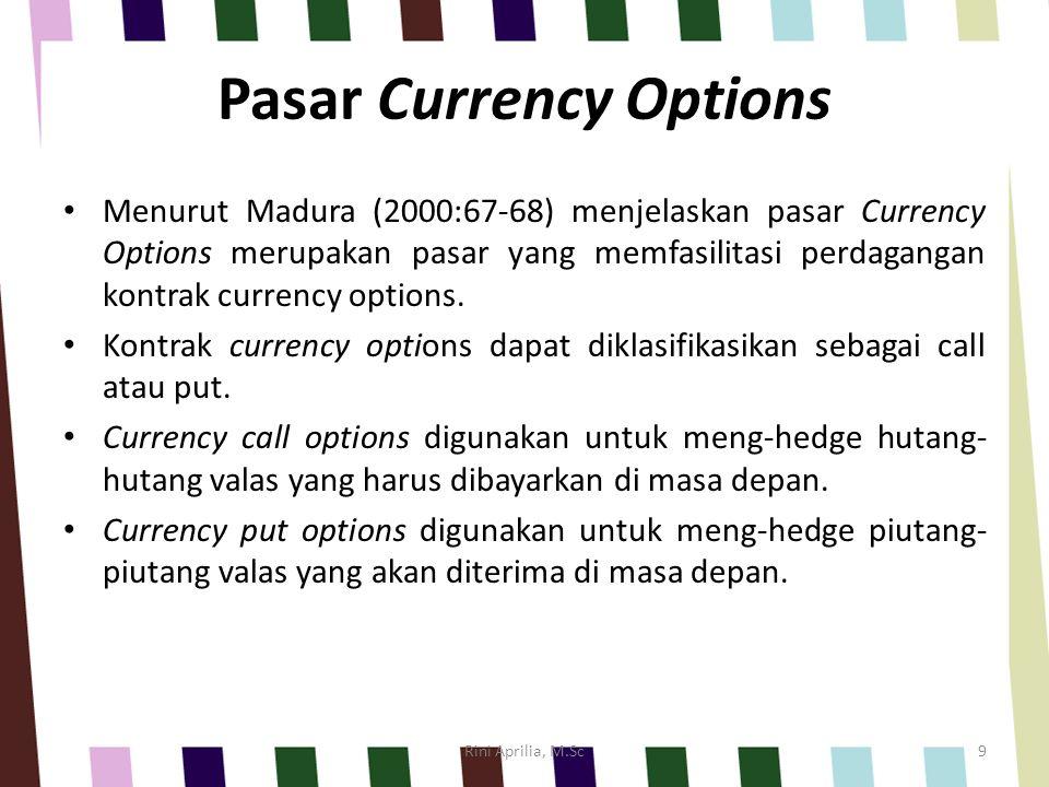Pasar Currency Options Menurut Madura (2000:67-68) menjelaskan pasar Currency Options merupakan pasar yang memfasilitasi perdagangan kontrak currency