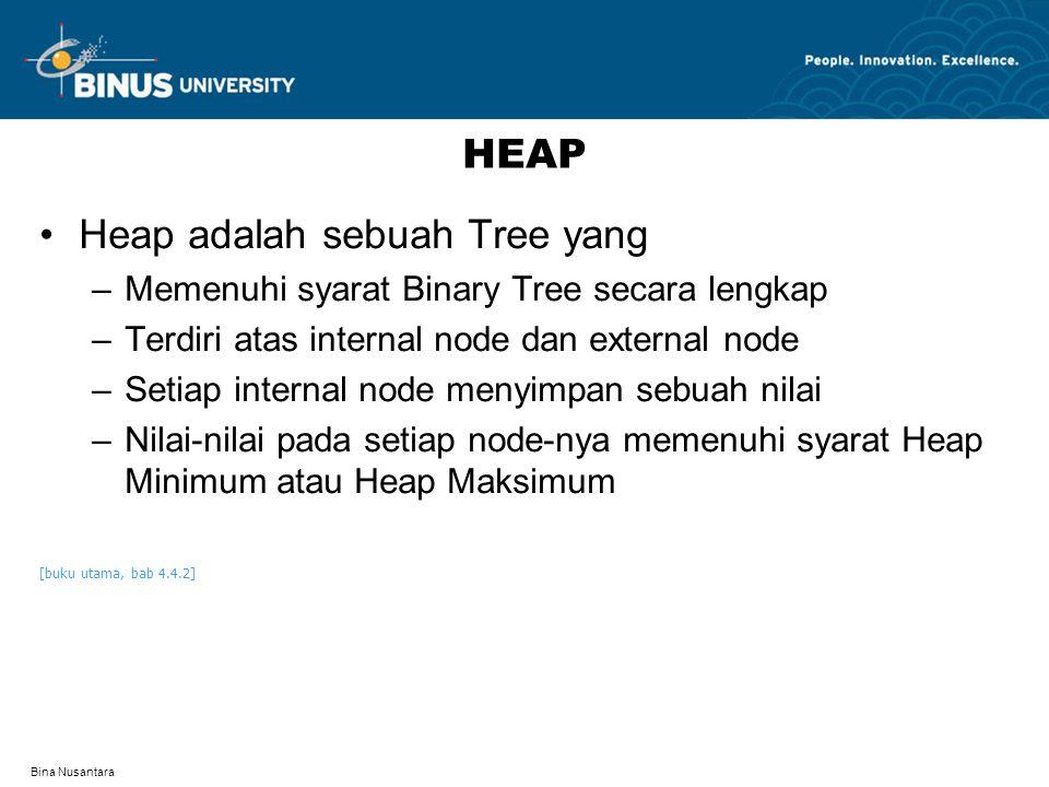 Bina Nusantara HEAP Heap adalah sebuah Tree yang –Memenuhi syarat Binary Tree secara lengkap –Terdiri atas internal node dan external node –Setiap int