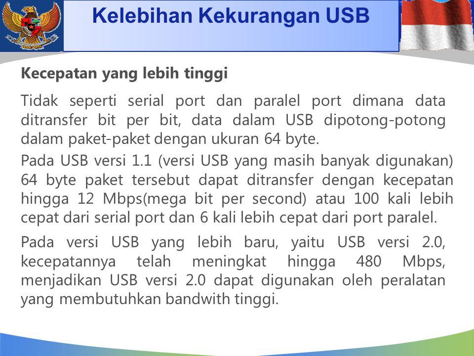 Kelebihan Kekurangan USB Kecepatan yang lebih tinggi Tidak seperti serial port dan paralel port dimana data ditransfer bit per bit, data dalam USB dip