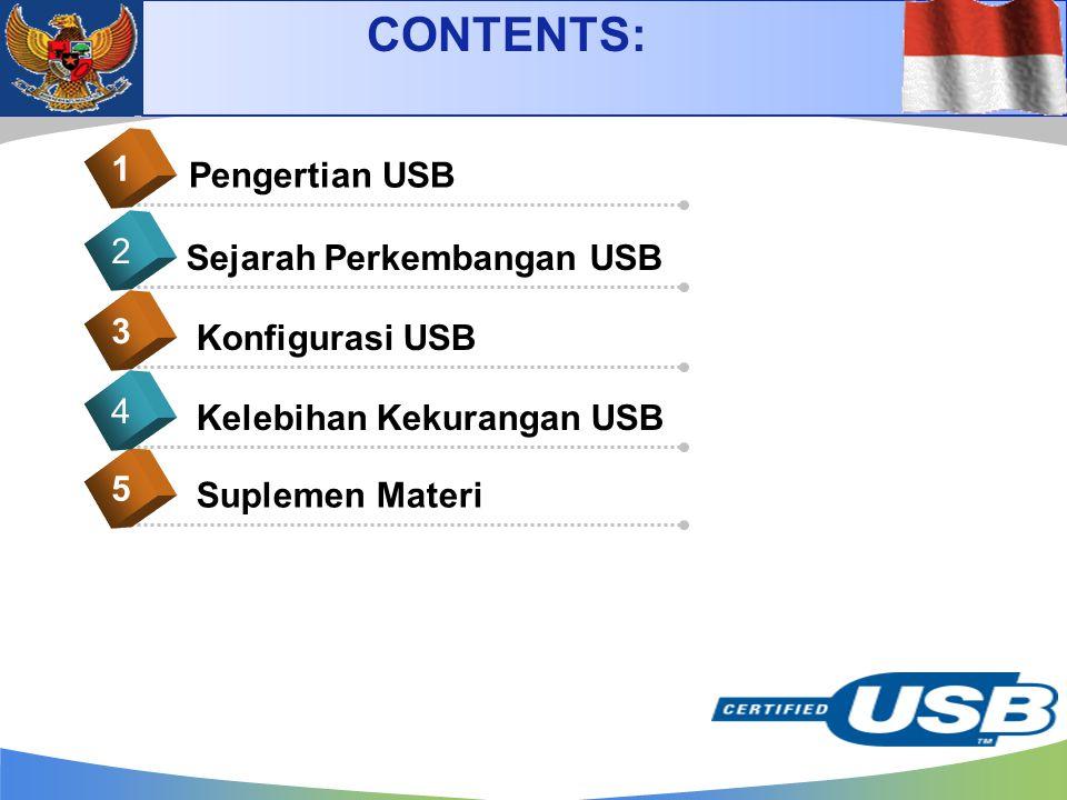 Pengertian USB 1 Sejarah Perkembangan USB 2 Konfigurasi USB 3 CONTENTS: Suplemen Materi 5 Kelebihan Kekurangan USB 4