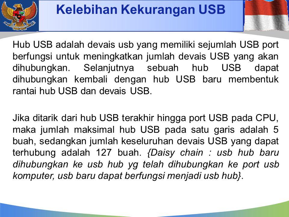 Kelebihan Kekurangan USB Hub USB adalah devais usb yang memiliki sejumlah USB port berfungsi untuk meningkatkan jumlah devais USB yang akan dihubungka