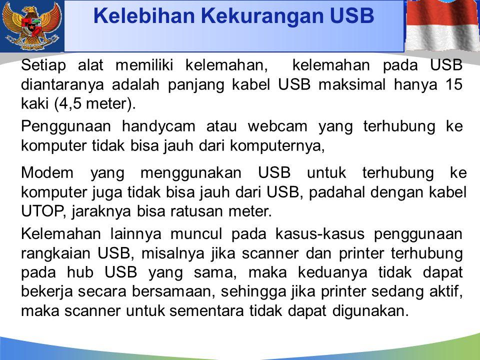 Kelebihan Kekurangan USB Setiap alat memiliki kelemahan, kelemahan pada USB diantaranya adalah panjang kabel USB maksimal hanya 15 kaki (4,5 meter). P