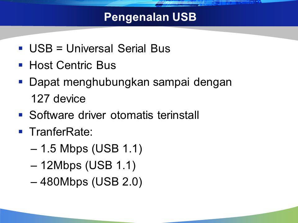 Pengenalan USB  USB = Universal Serial Bus  Host Centric Bus  Dapat menghubungkan sampai dengan 127 device  Software driver otomatis terinstall 