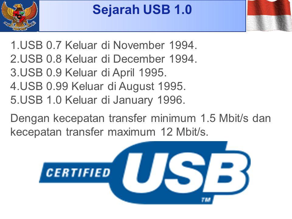 Sejarah USB 1.0 1.USB 0.7 Keluar di November 1994. 2.USB 0.8 Keluar di December 1994. 3.USB 0.9 Keluar di April 1995. 4.USB 0.99 Keluar di August 1995