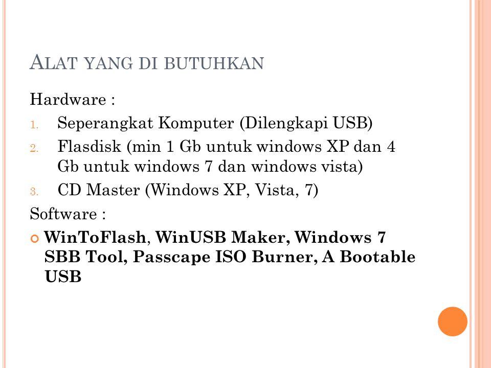 A LAT YANG DI BUTUHKAN Hardware : 1. Seperangkat Komputer (Dilengkapi USB) 2. Flasdisk (min 1 Gb untuk windows XP dan 4 Gb untuk windows 7 dan windows