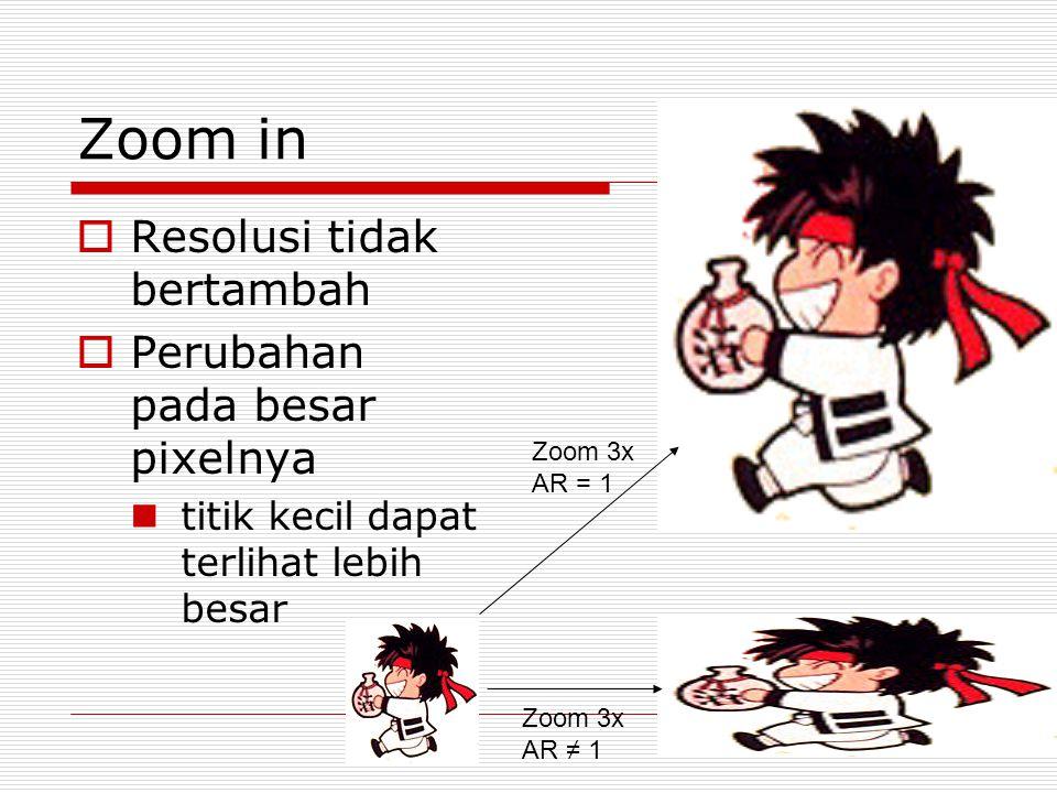 Zoom in  Resolusi tidak bertambah  Perubahan pada besar pixelnya titik kecil dapat terlihat lebih besar Zoom 3x AR = 1 Zoom 3x AR ≠ 1