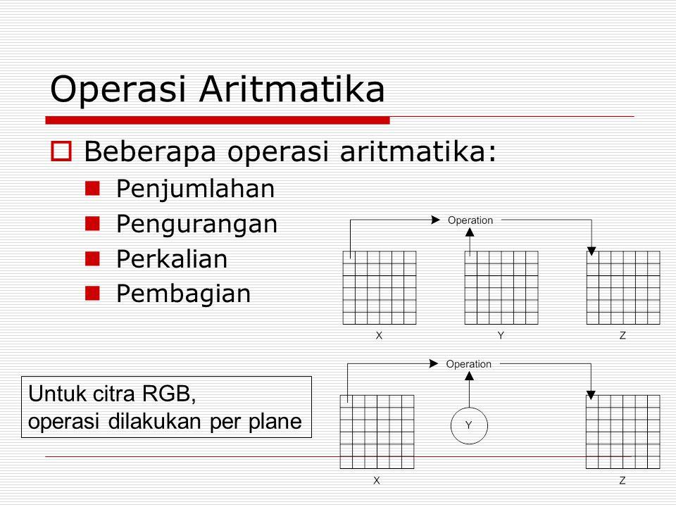 Operasi Aritmatika  Beberapa operasi aritmatika: Penjumlahan Pengurangan Perkalian Pembagian Untuk citra RGB, operasi dilakukan per plane