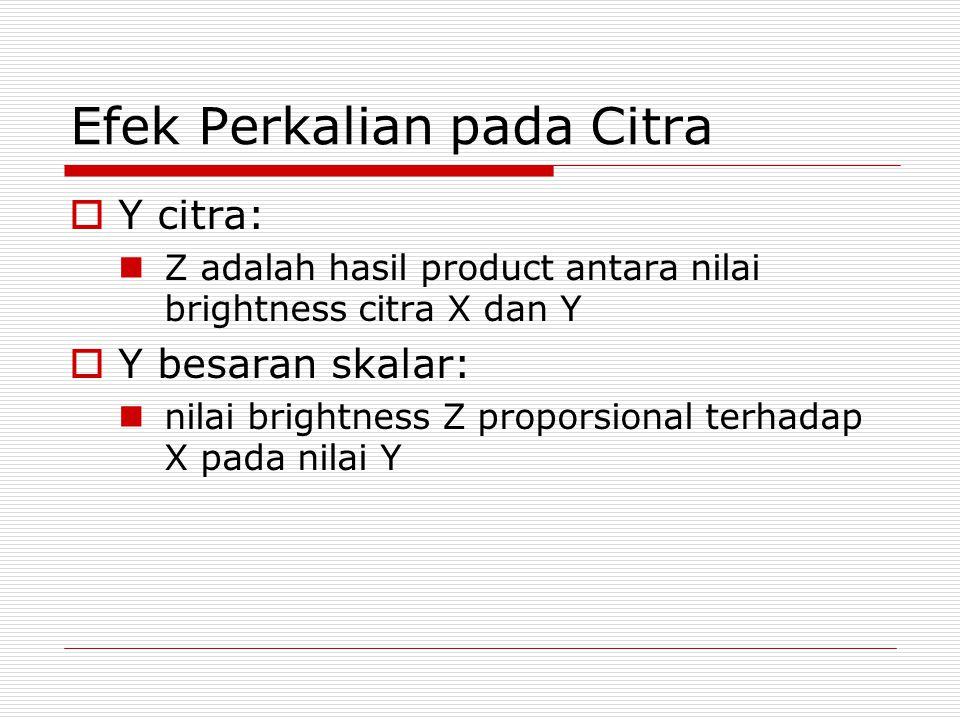 Efek Perkalian pada Citra  Y citra: Z adalah hasil product antara nilai brightness citra X dan Y  Y besaran skalar: nilai brightness Z proporsional