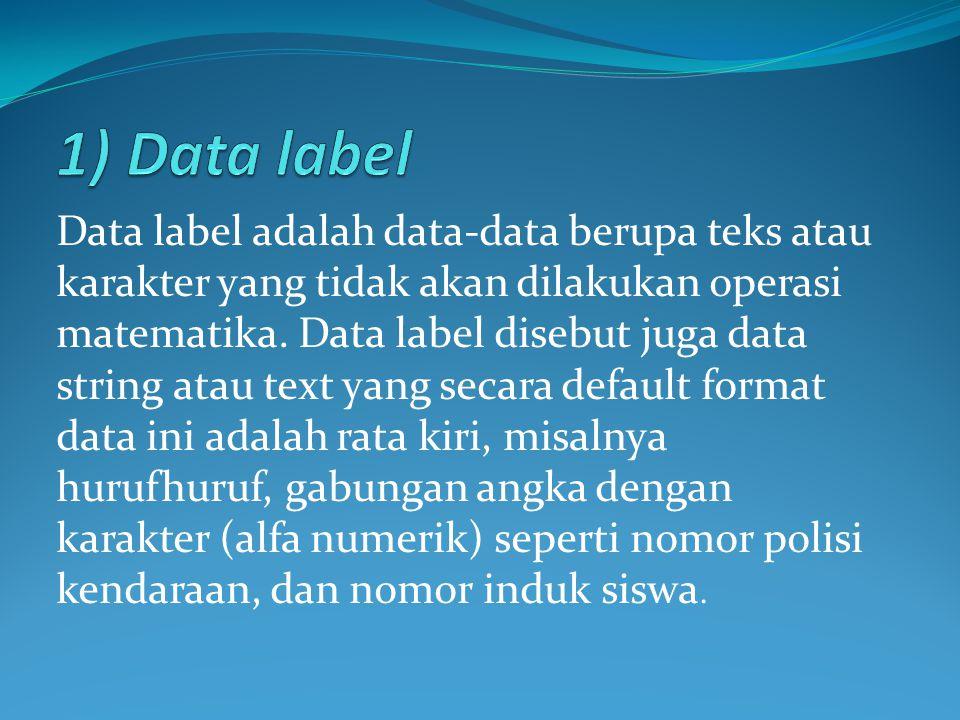 Data label adalah data-data berupa teks atau karakter yang tidak akan dilakukan operasi matematika. Data label disebut juga data string atau text yang