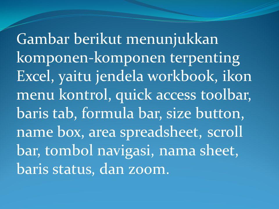Gambar berikut menunjukkan komponen-komponen terpenting Excel, yaitu jendela workbook, ikon menu kontrol, quick access toolbar, baris tab, formula bar