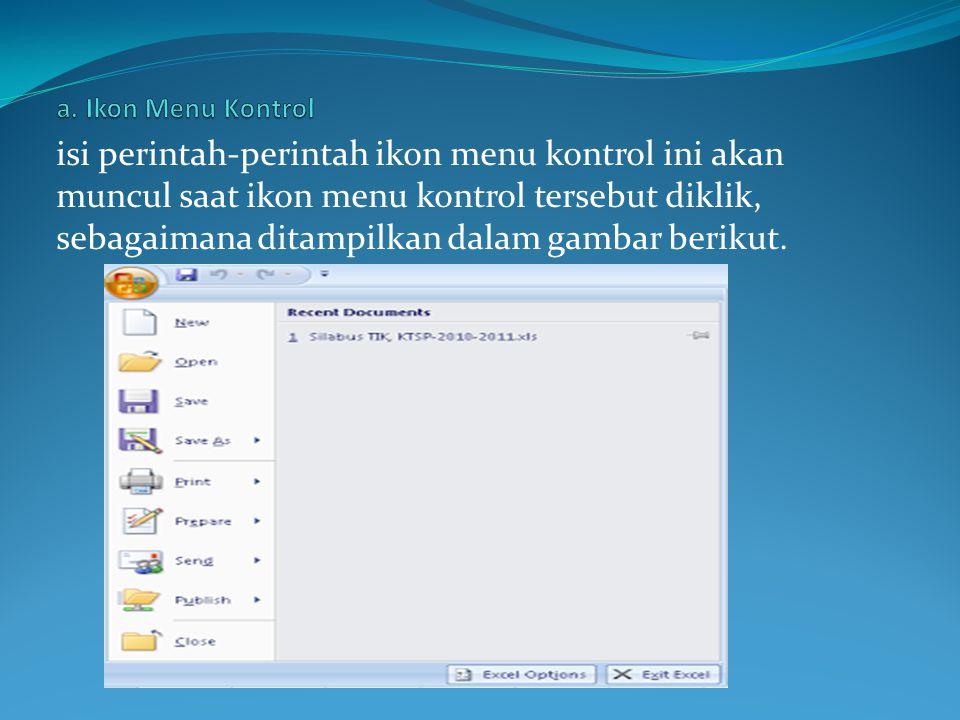 Quick access toolbar letaknya di pojok kanan atas tepatnya di sebelah kiri ikon menu kontrol.