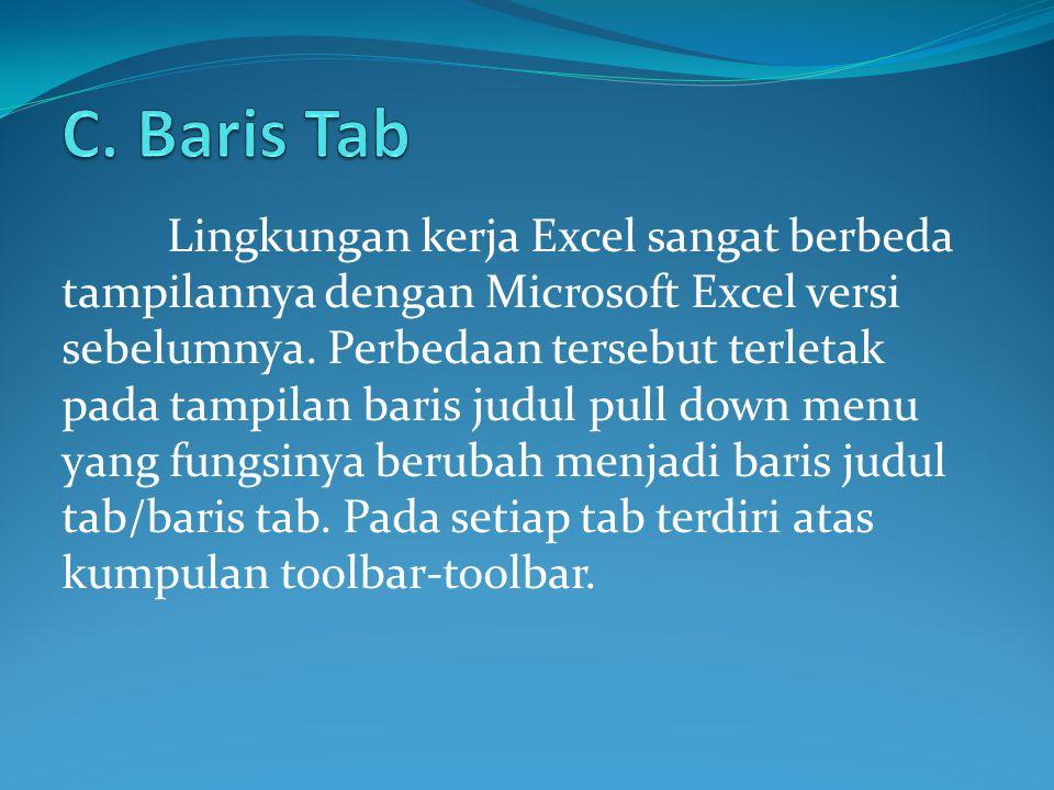 Lingkungan kerja Excel sangat berbeda tampilannya dengan Microsoft Excel versi sebelumnya. Perbedaan tersebut terletak pada tampilan baris judul pull