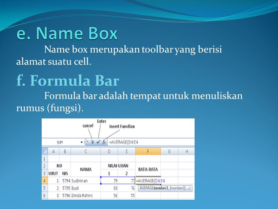 Name box merupakan toolbar yang berisi alamat suatu cell. f. Formula Bar Formula bar adalah tempat untuk menuliskan rumus (fungsi).