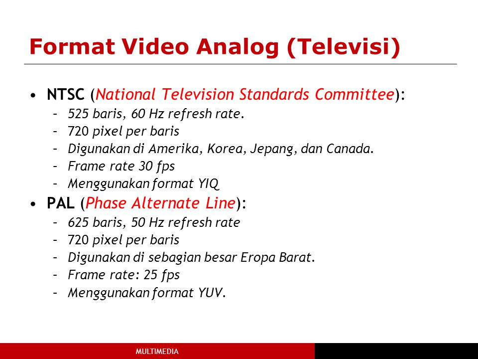 MULTIMEDIA Format Video Analog (Televisi) NTSC (National Television Standards Committee): –525 baris, 60 Hz refresh rate. –720 pixel per baris –Diguna
