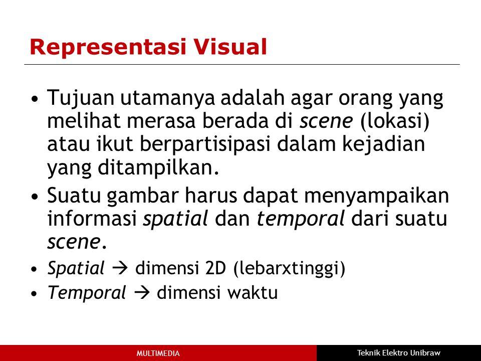 MULTIMEDIA Teknik Elektro Unibraw Representasi Visual Tujuan utamanya adalah agar orang yang melihat merasa berada di scene (lokasi) atau ikut berpartisipasi dalam kejadian yang ditampilkan.