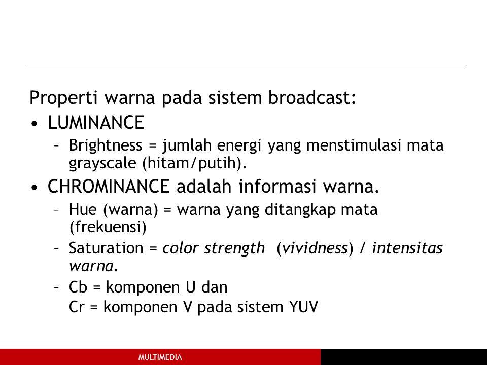 MULTIMEDIA Properti warna pada sistem broadcast: LUMINANCE –Brightness = jumlah energi yang menstimulasi mata grayscale (hitam/putih).