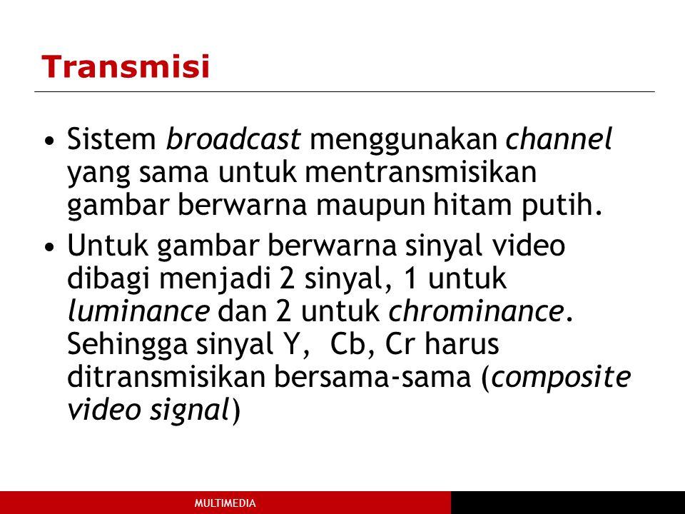MULTIMEDIA Transmisi Sistem broadcast menggunakan channel yang sama untuk mentransmisikan gambar berwarna maupun hitam putih.