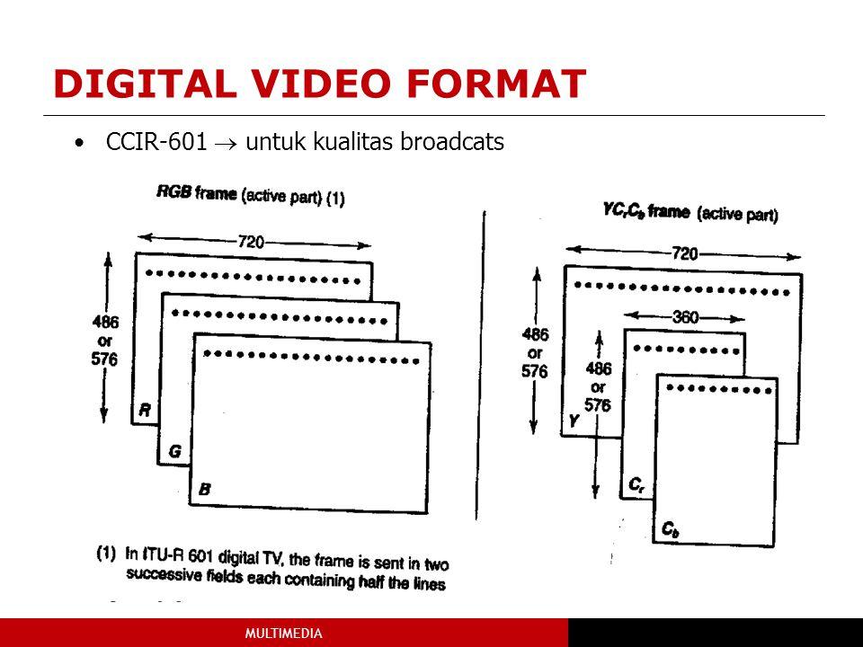 MULTIMEDIA CCIR-601  untuk kualitas broadcats DIGITAL VIDEO FORMAT
