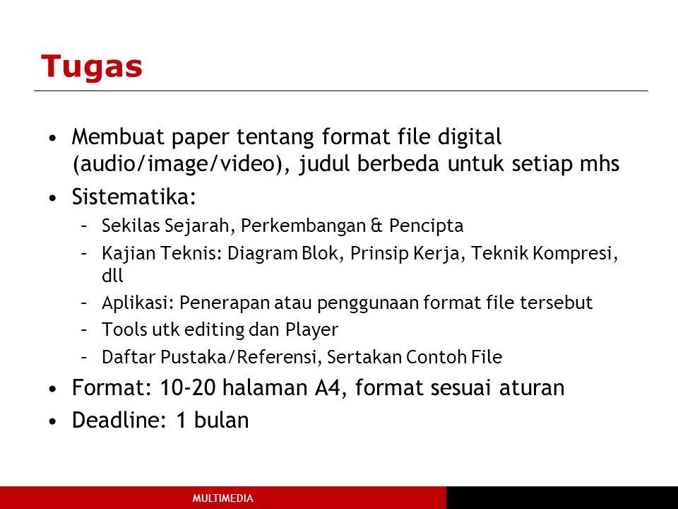 MULTIMEDIA Tugas Membuat paper tentang format file digital (audio/image/video), judul berbeda untuk setiap mhs Sistematika: –Sekilas Sejarah, Perkembangan & Pencipta –Kajian Teknis: Diagram Blok, Prinsip Kerja, Teknik Kompresi, dll –Aplikasi: Penerapan atau penggunaan format file tersebut –Tools utk editing dan Player –Daftar Pustaka/Referensi, Sertakan Contoh File Format: 10-20 halaman A4, format sesuai aturan Deadline: 1 bulan