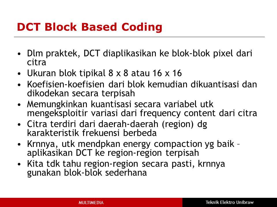 MULTIMEDIA Teknik Elektro Unibraw DCT Block Based Coding Dlm praktek, DCT diaplikasikan ke blok-blok pixel dari citra Ukuran blok tipikal 8 x 8 atau 16 x 16 Koefisien-koefisien dari blok kemudian dikuantisasi dan dikodekan secara terpisah Memungkinkan kuantisasi secara variabel utk mengeksploitir variasi dari frequency content dari citra Citra terdiri dari daerah-daerah (region) dg karakteristik frekuensi berbeda Krnnya, utk mendpkan energy compaction yg baik – aplikasikan DCT ke region-region terpisah Kita tdk tahu region-region secara pasti, krnnya gunakan blok-blok sederhana