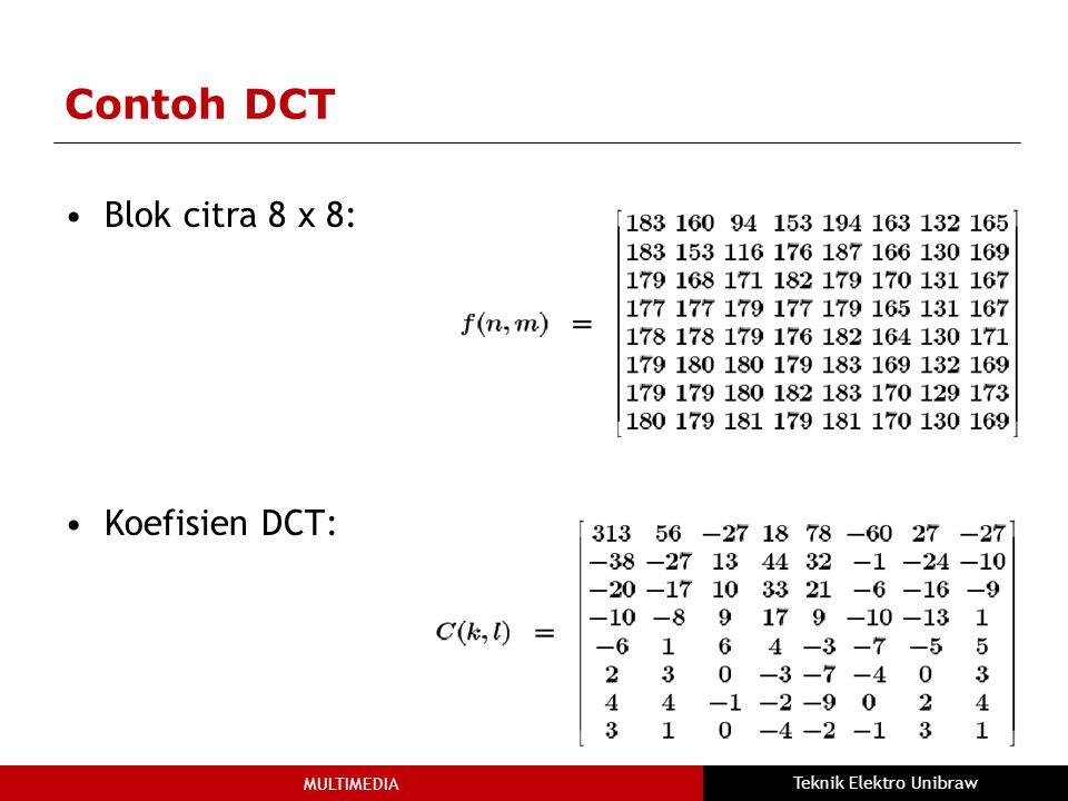 MULTIMEDIA Teknik Elektro Unibraw Contoh DCT Blok citra 8 x 8: Koefisien DCT: